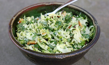 Brussels Sprouts & Kale Salad With Toasted Almonds & Parmesan